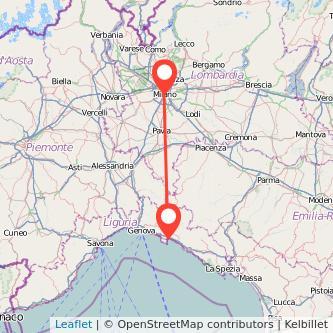 Mappa dei viaggio Milano Rapallo treno
