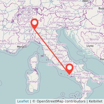 Mappa dei viaggio Milano Pozzuoli treno