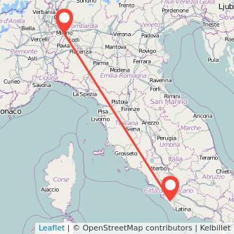 Mappa dei viaggio Milano Pomezia treno