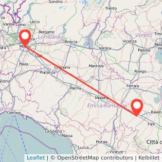 Mappa dei viaggio Milano Imola treno