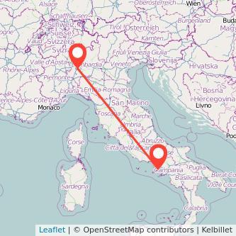 Mappa dei viaggio Milano Giugliano in Campania treno