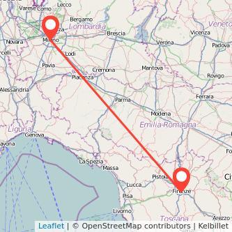 Mappa dei viaggio Milano Firenze treno