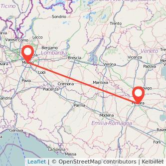 Mappa dei viaggio Milano Ferrara treno