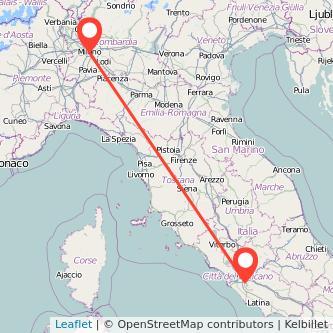 Mappa dei viaggio Milano Ciampino treno
