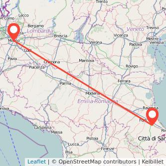 Mappa dei viaggio Milano Cesena treno