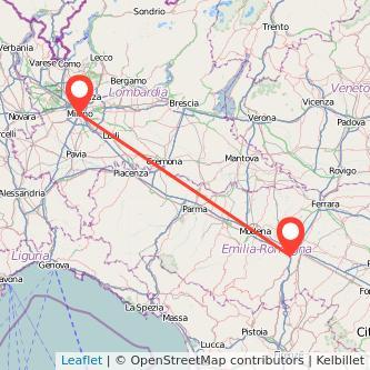 Mappa dei viaggio Milano Casalecchio di Reno treno