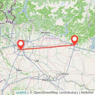 Mappa dei viaggio Milano Brescia treno