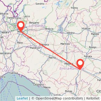 Mappa dei viaggio Milano Bologna treno