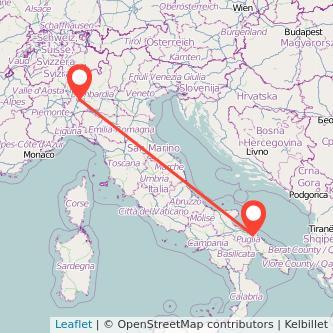 Mappa dei viaggio Milano Bari treno
