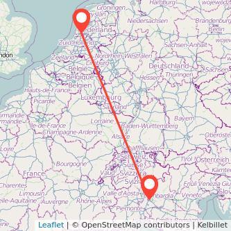 Mappa dei viaggio Milano Amsterdam treno