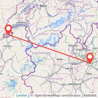 Mappa dei viaggio Milano Ginevra treno