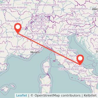 Mappa dei viaggio Chieti Lione pullman