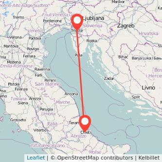 Mappa dei viaggio Chieti Trieste pullman