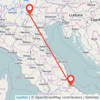 Mappa dei viaggio Chieti Trento pullman