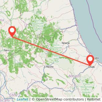 Mappa dei viaggio Chieti Spoleto pullman