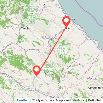 Mappa dei viaggio Chieti Sora pullman