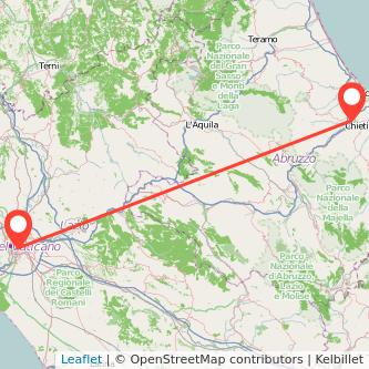 Mappa dei viaggio Chieti Roma pullman