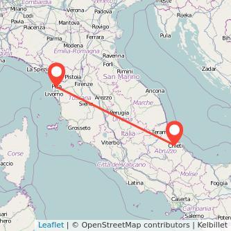 Mappa dei viaggio Chieti Pisa pullman