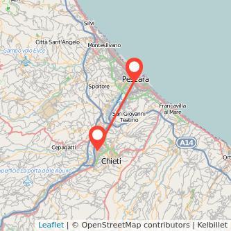 Mappa dei viaggio Chieti Pescara pullman