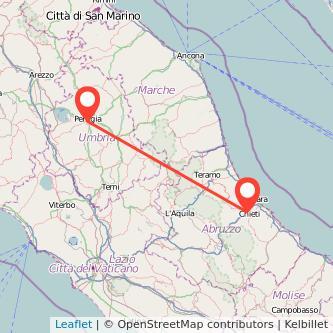 Mappa dei viaggio Chieti Perugia pullman