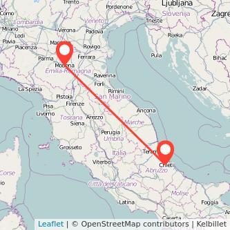 Mappa dei viaggio Chieti Modena pullman
