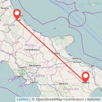 Mappa dei viaggio Chieti Matera pullman