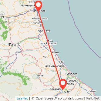 Mappa dei viaggio Chieti Martinsicuro pullman