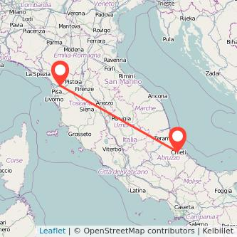 Mappa dei viaggio Chieti Lucca pullman