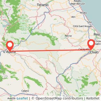 Mappa dei viaggio Chieti L'Aquila pullman