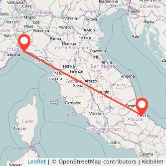 Mappa dei viaggio Chieti Genova pullman