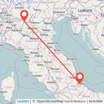 Mappa dei viaggio Chieti Brescia pullman