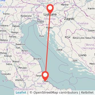 Mappa dei viaggio Chieti Lubiana pullman