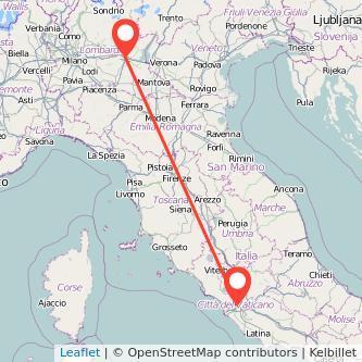 Mappa dei viaggio Brescia Roma treno