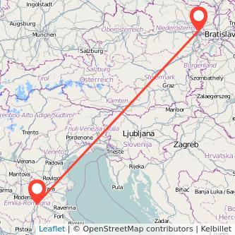 Mappa dei viaggio Bologna Vienna treno