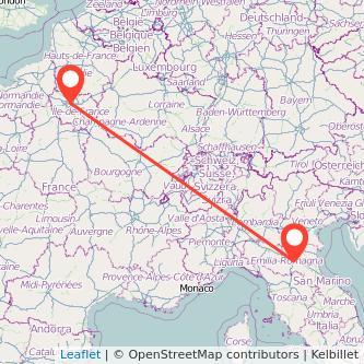 Mappa dei viaggio Bologna Parigi treno
