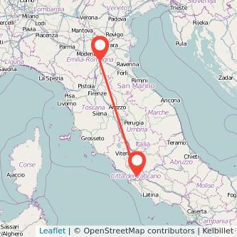 Mappa dei viaggio Bologna Roma pullman