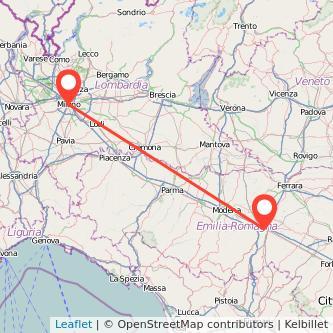 Mappa dei viaggio Bologna Milano treno