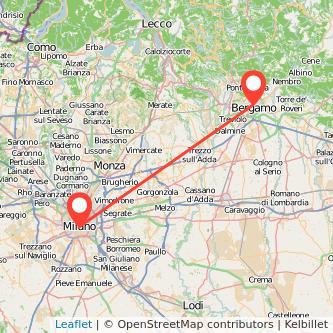 Mappa dei viaggio Bergamo Milano treno