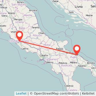 Mappa dei viaggio Bari Roma treno