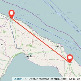 Mappa dei viaggio Bari Lecce treno