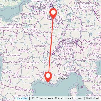 Luxemburg Marseille Bus Karte