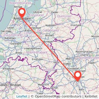 Mapa del viaje Amsterdam Colonia en bus