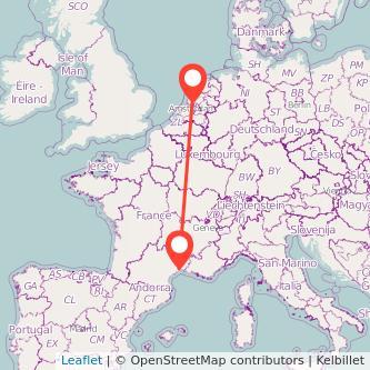 Mapa del viaje Amsterdam Montpellier en tren