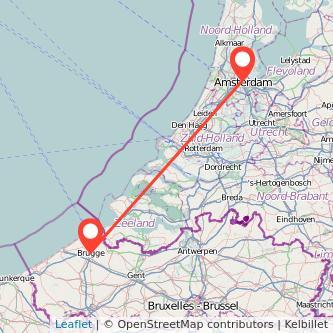 Mapa del viaje Amsterdam Brujas en tren