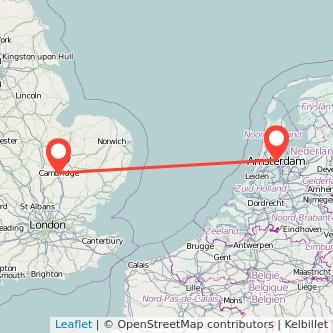 Amsterdam Cambridge train map