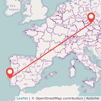 Mapa del viaje Lisboa Praga en bus