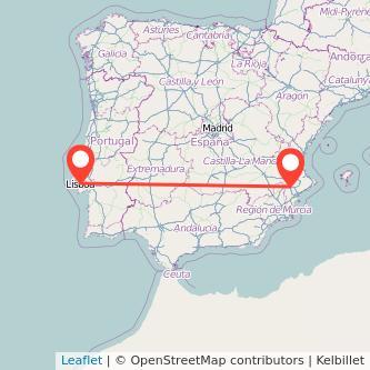Mapa del viaje Lisboa Villena en tren