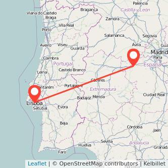Mapa del viaje Lisboa Talavera de la Reina en tren