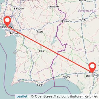 Mapa del viaje Lisboa Sevilla en bus