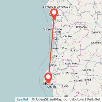 Mapa del viaje Lisboa Vigo en tren